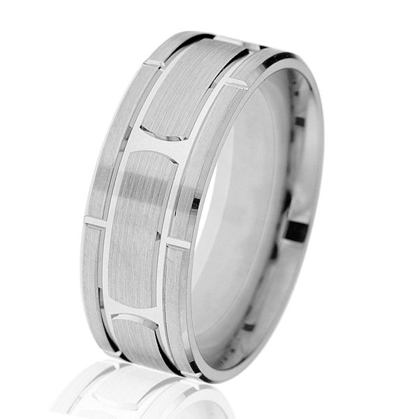 Item # G14647WE - 18kt white gold, brick-style, classic, 8mm, comfort fit wedding ring. The center is made with a brush finish and the edges are with a polished finish. Other finishes may be selected or specified. The ring is 8.0 mm wide.