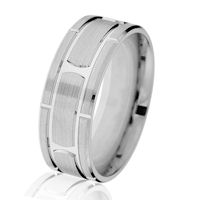 Item # G14647WE - White Gold Brick-Style Classic Wedding Ring