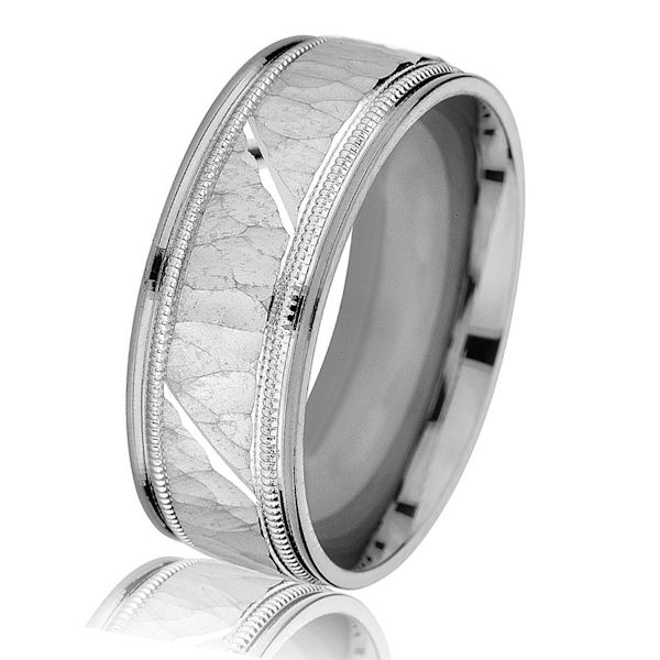 Item # G14658WE - 18kt white gold, hammered with milgrain, comfort fit, 8.0 mm wide wedding band. The center has a hammered brushed finish and milgrain accents. The edges have a polished finish. Other finishes may be selected or specified. The ring is 8.0 mm wide.