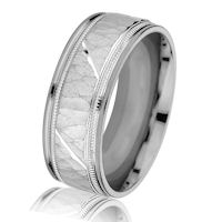 Item # G14658WE - 18Kt White Gold Hammered Milgrain Wedding Ring