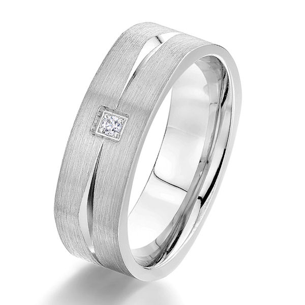 Item # G5751WE - 18kt white gold, diamond, comfort fit square men's wedding band. There is one princess cut diamond set in the ring. The diamond is about 0.03 carats, VS1-2 in clarity and G-H in color. Center of the ring has a sandblast brushed finish with the grooves being polished. Other finishes may be selected or specified. The ring is 7.0 mm wide.