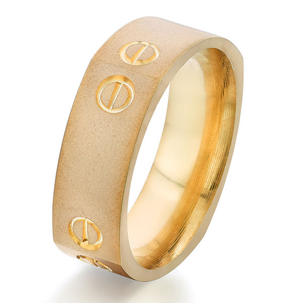 Item # G5752E - 18kt yellow gold, carved, square, comfort fit ring. There is a carved design on each corner of the ring with a sandblast finish. Other finishes may be selected or specified. The ring is 7.0 mm wide.