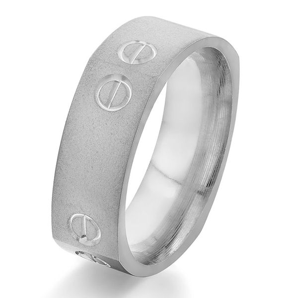 Item # G5752WE - 18kt white gold, carved, square, comfort fit ring. There is a carved design on each corner of the ring with a sandblast finish. Other finishes may be selected or specified. The ring is 7.0 mm wide.