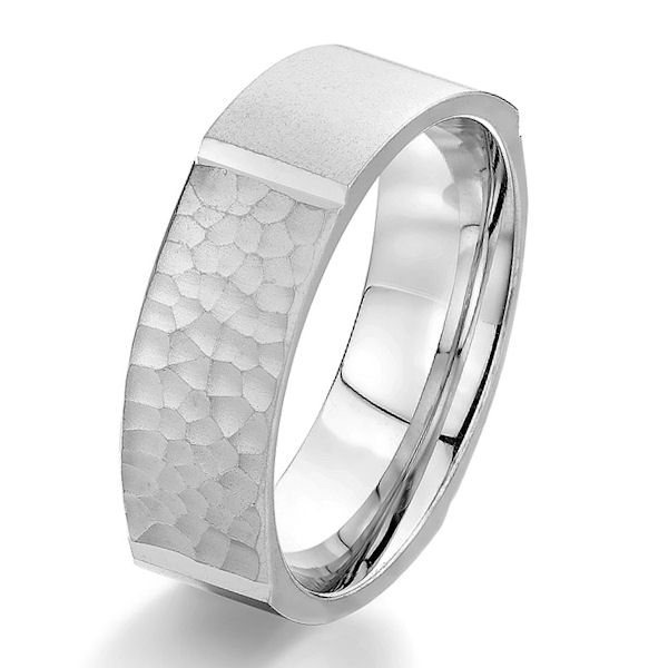 Item # G5755WE - 18kt white gold, square shape, hammered brush finish, comfort fit wedding ring. The ring has a mix of a hammered and brush finish. It is 7.0 mm wide.