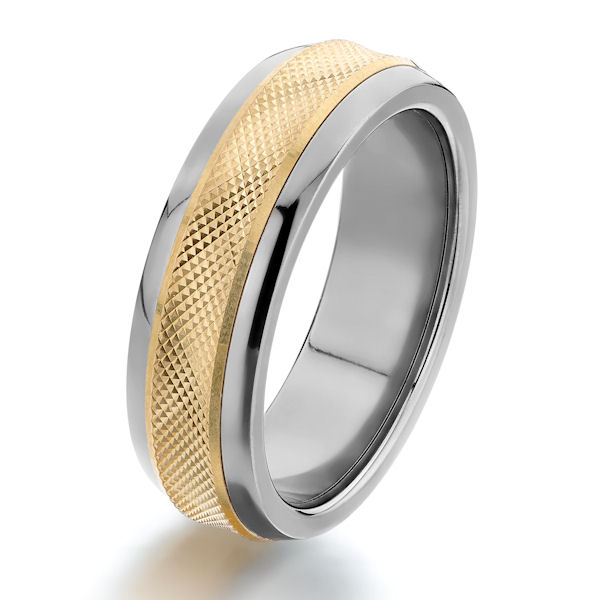 Item # G6419 - 14kt yellow gold inlay and titanium, comfort fit wedding ring. The center is a yellow gold inlay with a diamond cut finish in titanium. The ring is 7.0 mm wide.