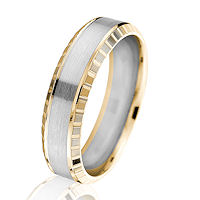 Item # G66876E - 18K Two-Tone Gold 6.0 MM Beveled Wedding Ring