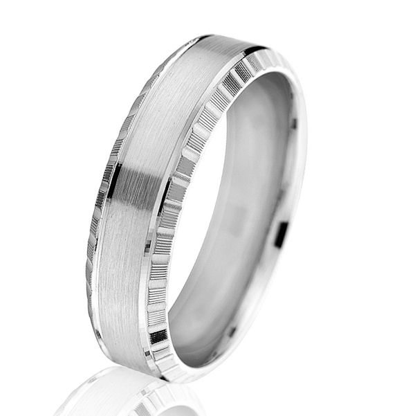 Item # G66876WE - 18kt white gold, beveled and designed, comfort fit 6.0 mm wide wedding ring. The center has a brushed finish and the edges are beveled with a designed pattern. Other finishes may be selected or specified. The ring is 6.0 mm wide.