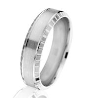 Item # G66876WE - White Gold 6.0 MM Beveled Wedding Ring