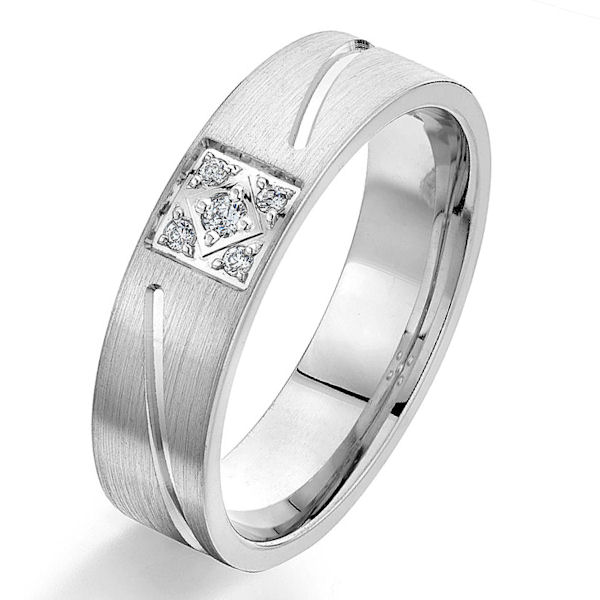 Item # G66968W - 14kt white gold, carved and diamond, comfort fit wedding ring. There are 5 round brilliant cut diamonds set in the ring. The diamonds are 0.08 ct tw, VS1-2 in clarity and G-H in color. The ring is 6.0 mm wide with a brushed and polished finish. Other finishes may be selected or specified.