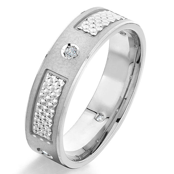 Item # G66969WE - 18kt white gold, contemporary, diamond, comfort fit wedding ring. There are 4 round brilliant cut diamonds set around the whole ring. The diamonds are 0.08 ct tw, VS1-2 in clarity and G-H in color. The ring is 6.0 mm wide with a mix of finishes.