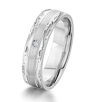 Item # G67190W - 14K White Gold Carved 0.02 Ct Diamond Wedding Ring
