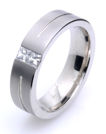 Item # G6757WE - 18K white gold, 6.0 mm wide, comfort fit diamond wedding band. Diamonds together weighs 0.33 ct tw and are graded as VS2 in clarity G in color. The finish on the ring is matte. Finish is as pictured.