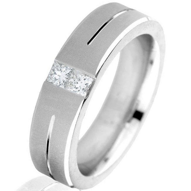 Item # G6757W View 2 - 14K Diamond Men's Wedding Band.
