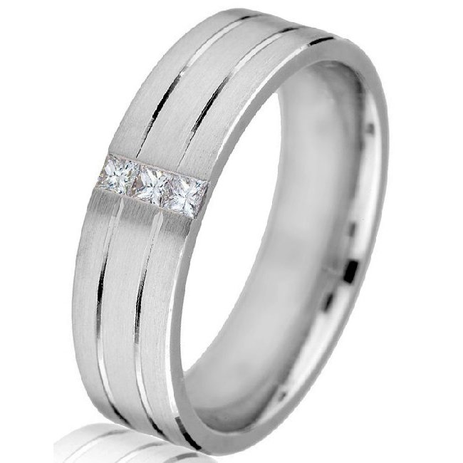 Item # G679238WE - 18K white gold, 8.0 mm wide, comfort fit diamond wedding band. Diamonds together weighs 0.45 ct tw and are graded as VS2 in clarity G in color. The finish on the ring is matte. Other finishes may be selected or specified.