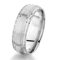 Item # G76857WE - 18Kt White Gold 7.0 MM Carved Wedding Ring