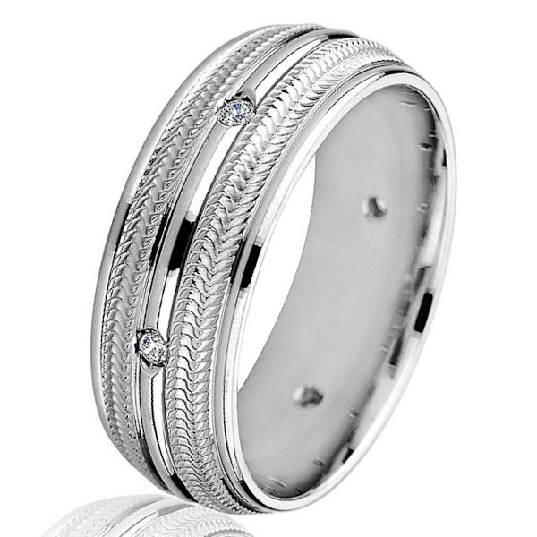 Item # G86768WE - 18kt white gold, contemporary, diamond, comfort fit wedding ring. There are 6 round brilliant cut diamonds set in the center of the ring. The diamonds are 0.09 ct tw, VS1-2 in clarity and G-H in color. The ring is 8.0 mm wide with a polished finish. Other finishes may be selected or specified.