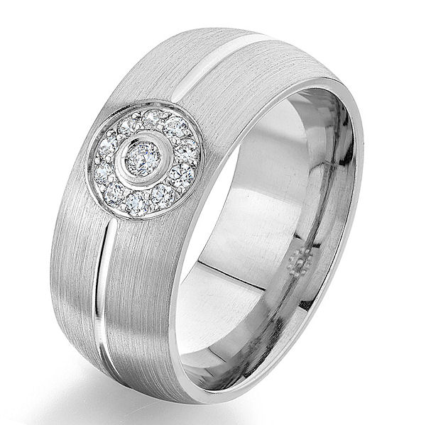 Item # G86803W - 14kt white gold, diamond, comfort fit wedding ring. There are 11 round brilliant cut diamonds set in the center. The diamonds are 0.13 ct tw, VS1-2 in clarity and G-H in color. The ring is 8.0 mm wide with a brush finish. Other finishes may be selected or specified.