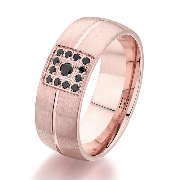 Item # G86826E - 18kt rose gold, diamond, comfort fit wedding ring. There are 13 round black brilliant cut diamonds set in the ring. The diamonds are 0.16 carats total weight. The ring is 8.0 mm wide and has a brushed finish. Other finishes may be selected or specified.