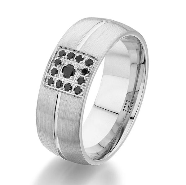 Item # G86826WE - 18kt white gold, diamond, comfort fit wedding ring. There are 13 round black brilliant cut diamonds set in the ring. The diamonds are 0.16 carats total weight. The ring is 8.0 mm wide and has a brushed finish. Other finishes may be selected or specified.