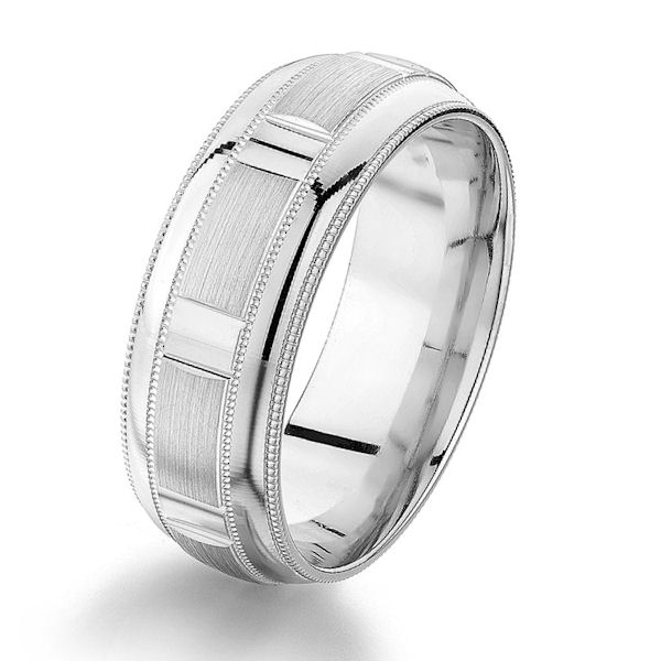 Item # G86858W - 14kt white gold, 8.0 mm, designed, comfort fit wedding ring. The center of the ring has a mix of brushed and polished finish with milgrain accents. The edges are polished. Other finishes may be selected or specified. The ring is 8.0 mm wide.