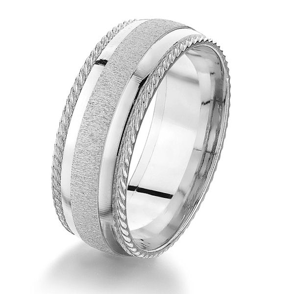 Item # G86860WE - 18kt white gold, designed, comfort fit wedding ring. The center of the ring has a sandblas finish with polished accents and on the edges are a designed pattern. Other finishes may be selected or specified. The ring is 8.0 mm wide.
