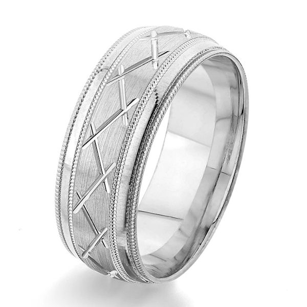 Item # G86861W - 14kt white gold, carved, 8.0 mm wide, comfort fit wedding ring. The center of the ring has a carved pattern in brushed finish with milgrain accents. The edges are polished and with a milgrain edge. Other finishes may be selected or specified. The ring is 8.0 mm wide.