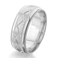 Item # G86861W - 14Kt White Gold Carved Wedding Ring