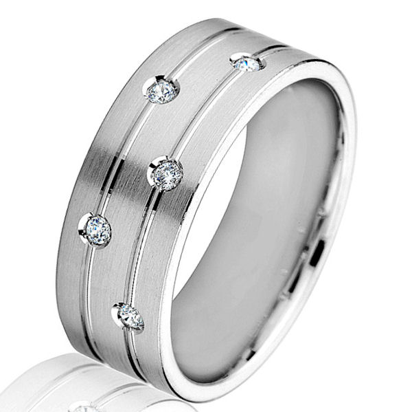 Item # G86868W - 14kt white gold, diamond, brushed finish, comfort fit wedding ring. There are 5 round brilliant cut diamonds set in the ring. The diamonds are 0.10 ct tw, VS1-2 in clarity and G-H in color. The ring is 8.0 mm wide and has a brush finish. Other finishes may be selected.