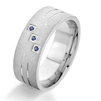 Item # G86973W - 14Kt White Gold Sapphire Wedding Band