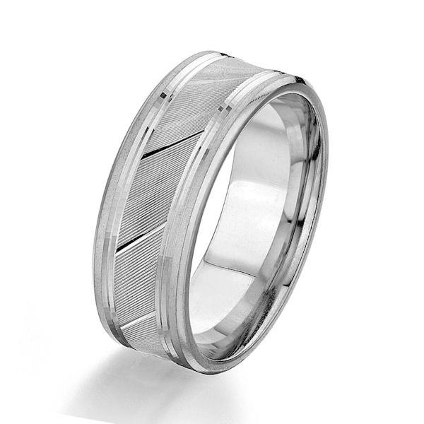 Item # G87032WE - 18kt white gold, 8.0 mm wide, comfort fit wedding ring. The center has a grooved design and the edges are polished. Other finishes may be selected or specified. The ring is 8.0 mm wide.