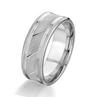Item # G87032WE - White Gold 8.0 MM Grooved Designed Wedding Ring