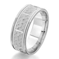 Item # G87135WE - 18Kt White Gold 8.0 MM Hammered Wedding Ring