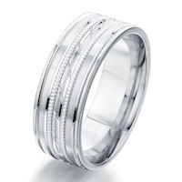 Item # G87152WE - 18Kt White Gold 8.0 MM Engraved Wedding Ring
