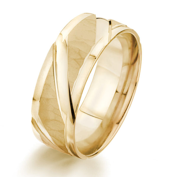 Item # G87155E - 18kt yellow gold, 8.0 mm wide, carved, comfort fit wedding ring. The ring has a mix of hammered brush finish and polished finish. The ring is 8.0 mm wide.