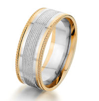 Item # G87175E - 18K Two-Tone Gold Designed 8.0 MM Wedding Ring