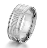 Item # G87175W - 14K White Gold Designed 8.0 MM Wedding Ring