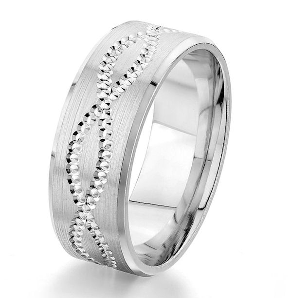 Item # G87186W - 14kt white gold, designed, 8.0 mm wide, comfort fit wedding ring. The center of the ring has a design around the whole ring with a brush finish and polished edges. The ring is 8.0 mm wide.