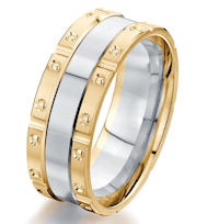 Item # G87204E - 18K Two-Tone Brick Style Wedding Ring