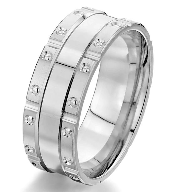 Item # G87204WE - 18kt white gold, brick design, 8.0 mm wide, comfort fit wedding band. The ring is all polished. Other finishes may be selected or specified.