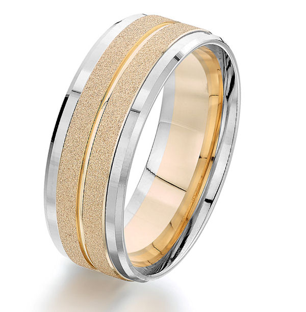 Item # G87207 - 14kt two-tone gold, 8.0 mm wide, comfort fit wedding ring. The center of the ring is yellow gold with a sandblast finish and the edges are white gold with a polished finish. Other finishes may be selected or specified. The ring is 8.0 mm wide.