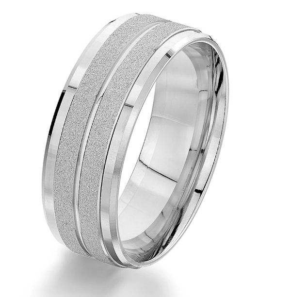 Item # G87207WE - 18kt white gold, 8.0 mm wide, comfort fit wedding ring. The center of the ring is with a sandblast finish and the edges are with a polished finish. Other finishes may be selected or specified. The ring is 8.0 mm wide.