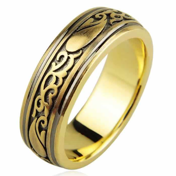 Item # H112418E - 18K two-tone gold 7.0mm wide, comfort fit,  black antique wedding band.