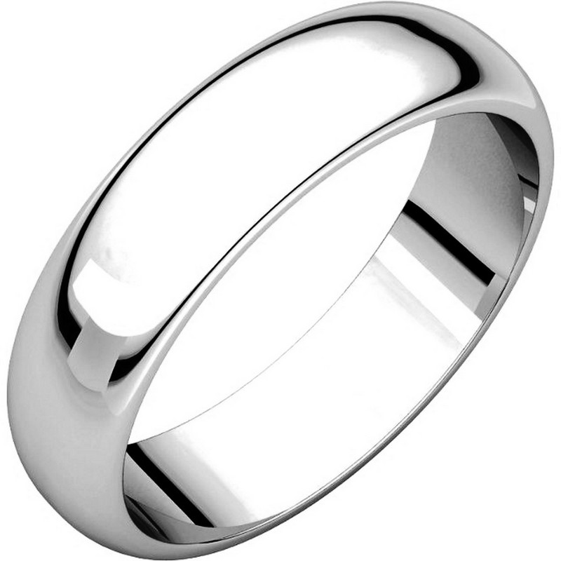 Item # H112945W - 14 kt, white gold, high dome, 5.0 mm wide, plain wedding band. The finish on the ring is polished. Other finishes may be selected or specified.