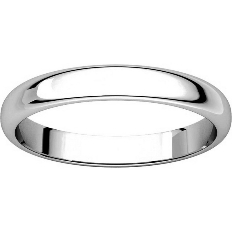 Item # H114853WE View 3 - 18K White Gold High Dome Plain Wedding Band