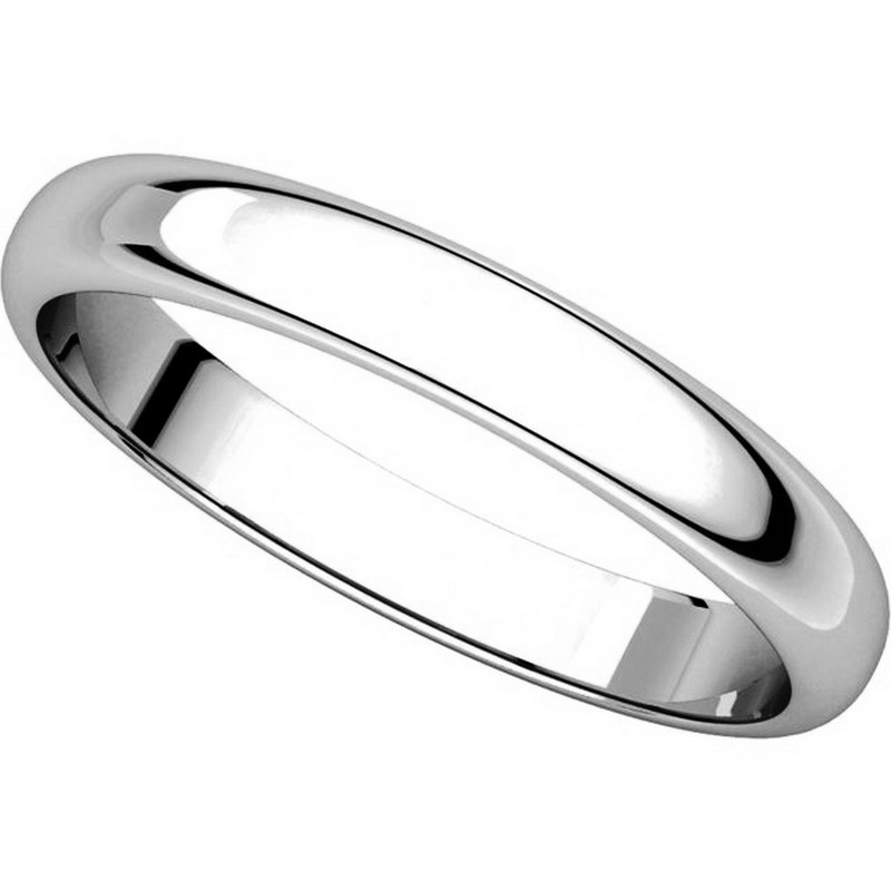 Item # H114853WE View 4 - 18K White Gold High Dome Plain Wedding Band