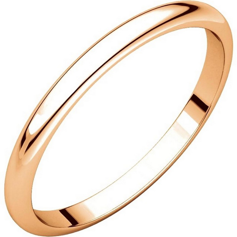 Item # H116762R - 14 kt Rose, gold, 2.0mm wide, high dome, plain wedding band. The finish on the ring is polished. Other finishes may be selected or specified.
