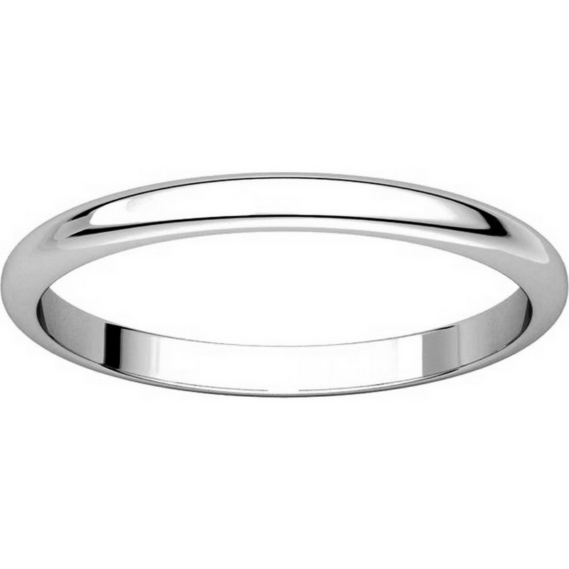 Item # H116762W View 3 - 14K White Gold 2 mm Wide High Dome Plain Wedding Ring