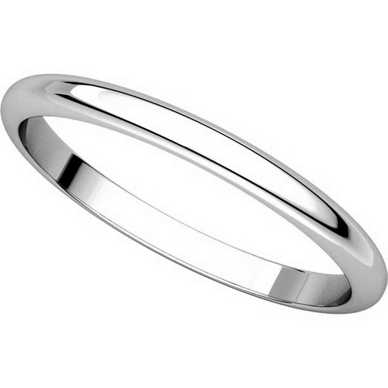 Item # H116762W View 4 - 14K White Gold 2 mm Wide High Dome Plain Wedding Ring