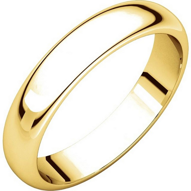 Item # H116804 - 14 kt, yellow gold, high dome, 4.0 mm wide, plain wedding band. The finish on the ring is polished. Other finishes may be selected or specified.