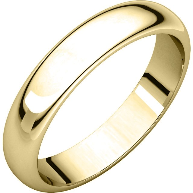 Item # H116804E - 18 kt, yellow gold, high dome, 4.0 mm wide, plain wedding band. The finish on the ring is polished. Other finishes may be selected or specified.